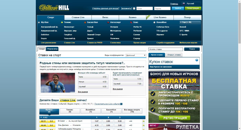 Букмекерская контора william hill casino